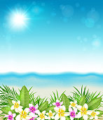 Tropical summer background with flowers and leaves. Pink and yellow tropical flowers and beach. EPS 10 file, contains transparencies.