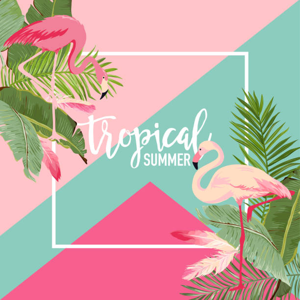tropical flowers and flamingo summer banner, graphic background, exotic floral invitation, flyer or card. modern front page in vector - flamingo stock illustrations