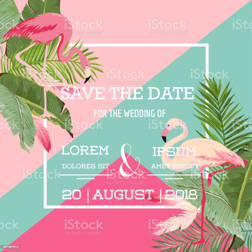 Tropical Flowers and Flamingo Summer Wedding Card, Exotic Floral Invitation in Vector vector art illustration
