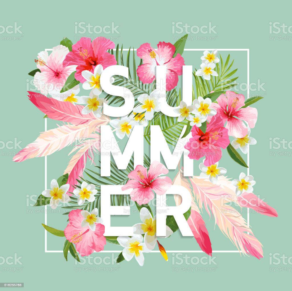 Tropical Flowers and Leaves Background. Summer Design. Vector....