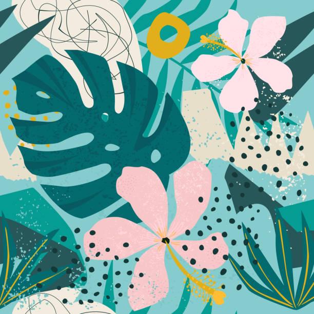 ilustrações, clipart, desenhos animados e ícones de palmeiras e flores tropicais deixa no fundo. sem costura. - monstera