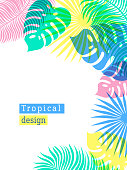 Tropical Flowers and Palms Summer Background with copy space. Flat style illustration in punchy pastels colors. Exotic Floral frame for Invitation, Flyer or Card. Tropical floral template