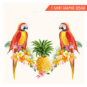 Tropical Flowers and Parrot Birds Graphic Design for t-shirt, fashion, prints in vector
