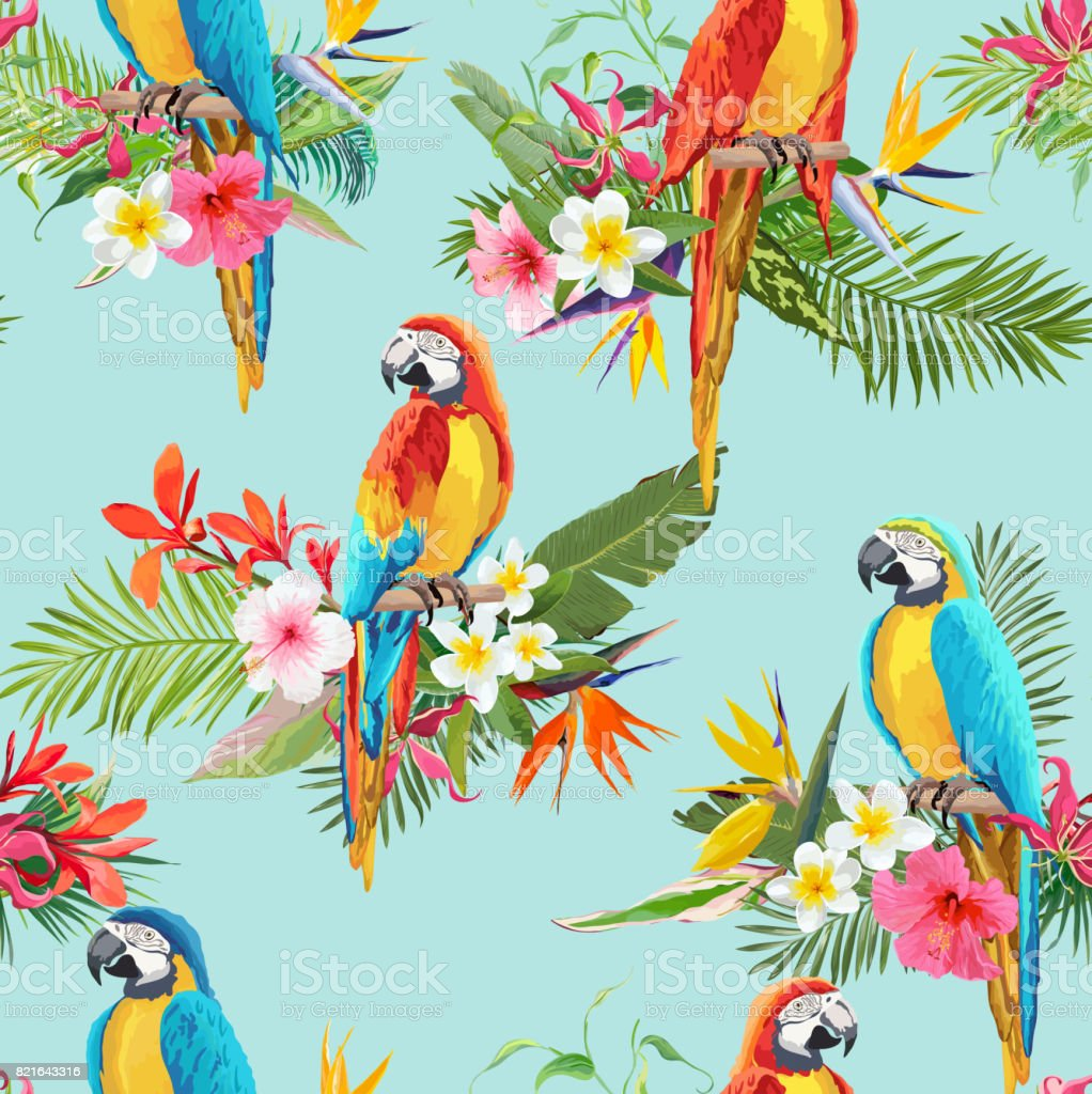 Tropical Flowers and Parrot Birds Seamless Background. Retro Summer Pattern in Vector royalty-free tropical flowers and parrot birds seamless background retro summer pattern in vector stock illustration - download image now