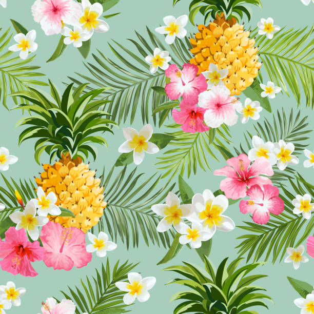 Vintage Style Tropical Bird And Flowers Background: Best Tropical Fruit Illustrations, Royalty-Free Vector