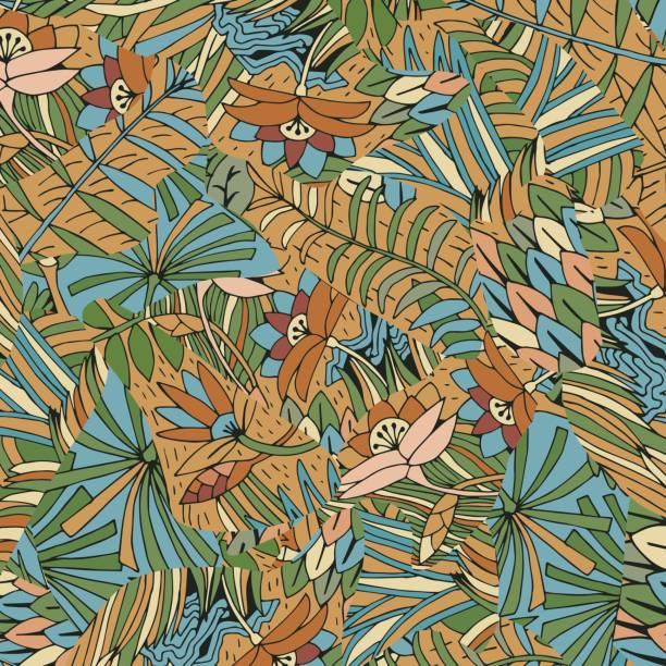 tropische blumen hintergrund. handgezeichnete exotische blumen und blatt. - hibiskusgarten stock-grafiken, -clipart, -cartoons und -symbole