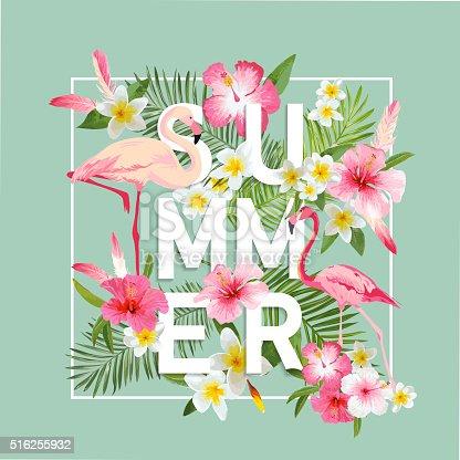 Tropical Flowers Background. Summer Design. Vector. Flamingo Background