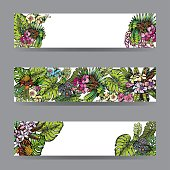 Tropical Flowers Background. Vector Cards, Notes and Banners with Exotic Flowers and Leaf.