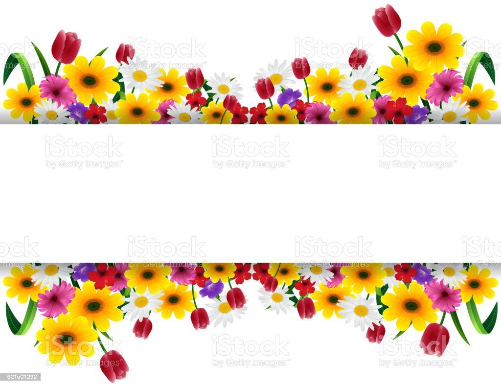 Tropical flowers banner tropical flowers banner – cliparts vectoriels et plus d'images de banderole libre de droits