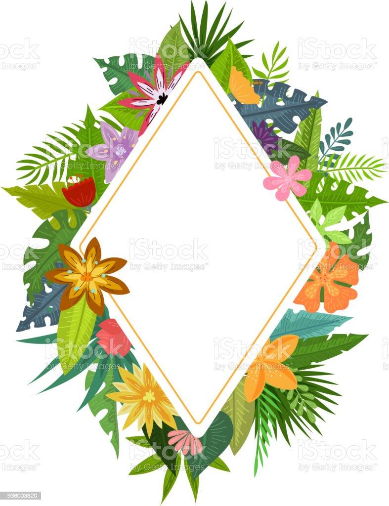 Marcos De Flores Tropicales - Arte vectorial de stock y más imágenes ...