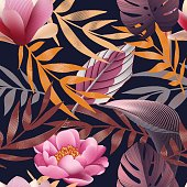 Tropical flowers, jungle leaves,  paradise flower. Beautiful seamless vector floral pattern background, exotic print