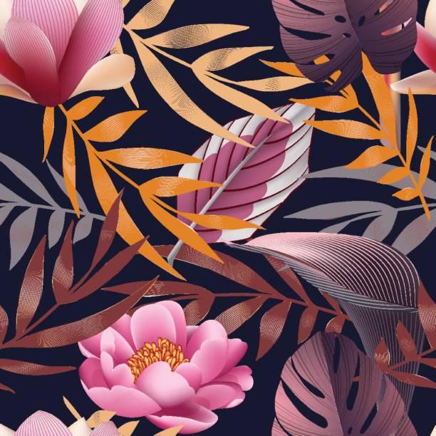 Tropische Blumen Dschungel Blätter, Paradies Blume. – Vektorgrafik