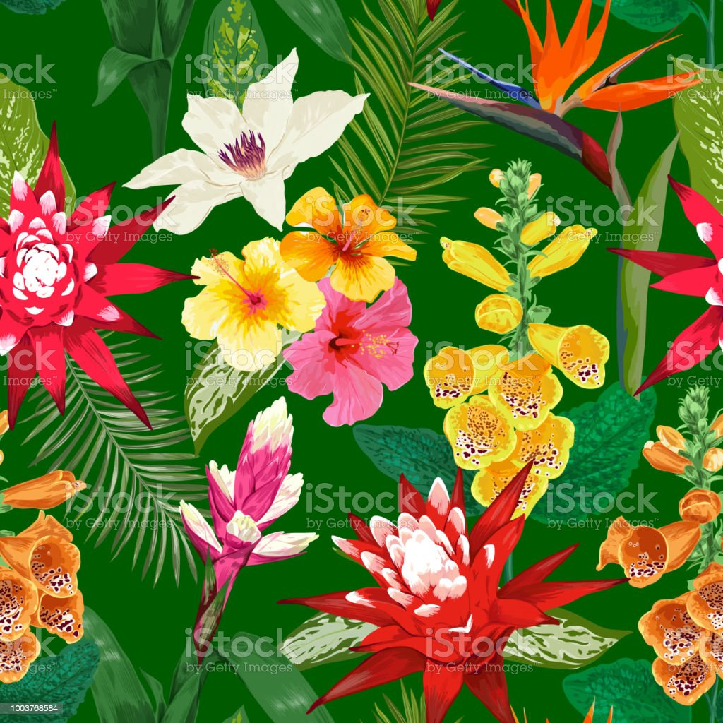 Tropical flowers seamless pattern summer floral background with tropical flowers seamless pattern summer floral background with tiger lily flower and hibiscus watercolor izmirmasajfo