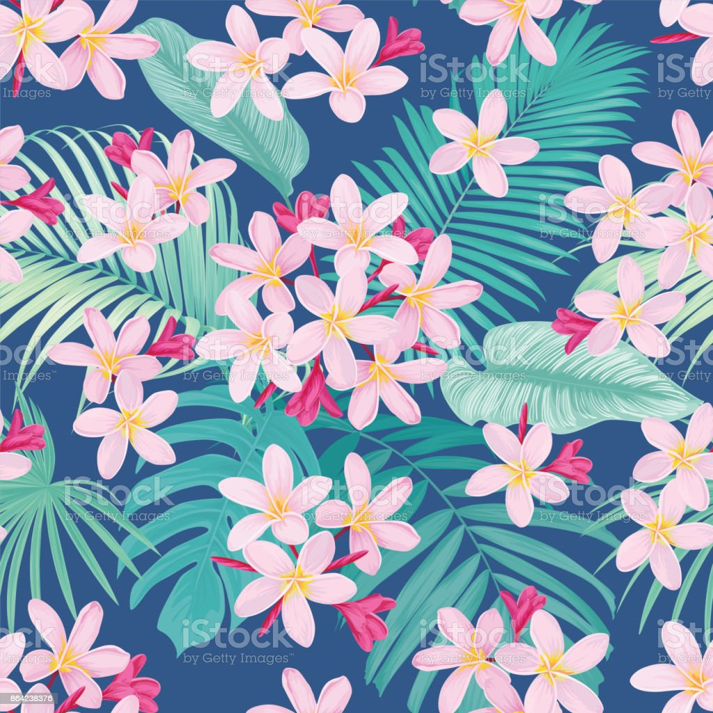 Tropical flowers seamless pattern with leaf on blue background. royalty-free tropical flowers seamless pattern with leaf on blue background stock vector art & more images of arts culture and entertainment