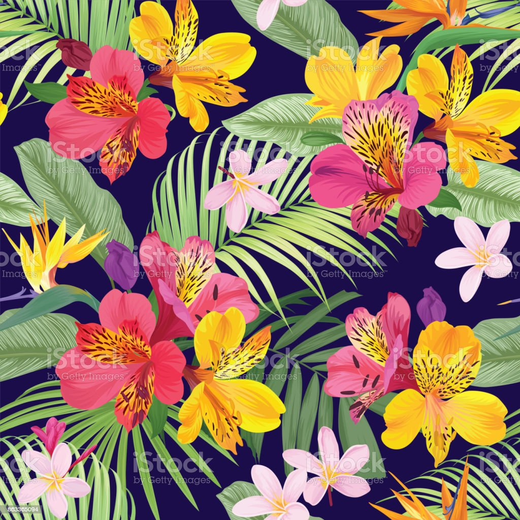 Tropical Flowers Seamless Pattern With Leaf On Dark Purple Background Royalty Free Stock Vector