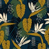 istock Tropical flowers.  Vector  pattern . 1201607122
