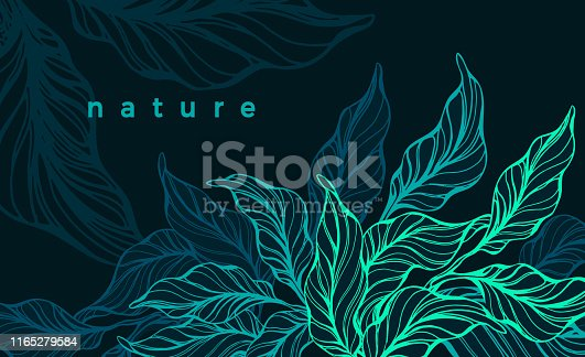 Tropical foliage. Vector hand drawn template. Nature neon green leaves. Art line sketch. Exotic evening. Abstract background. Wild jungle. Graphic illustration