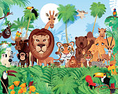 Vector Tropical Forest and Cute Animals