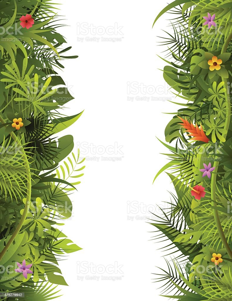 Tropical Forest Vertical Frame vector art illustration