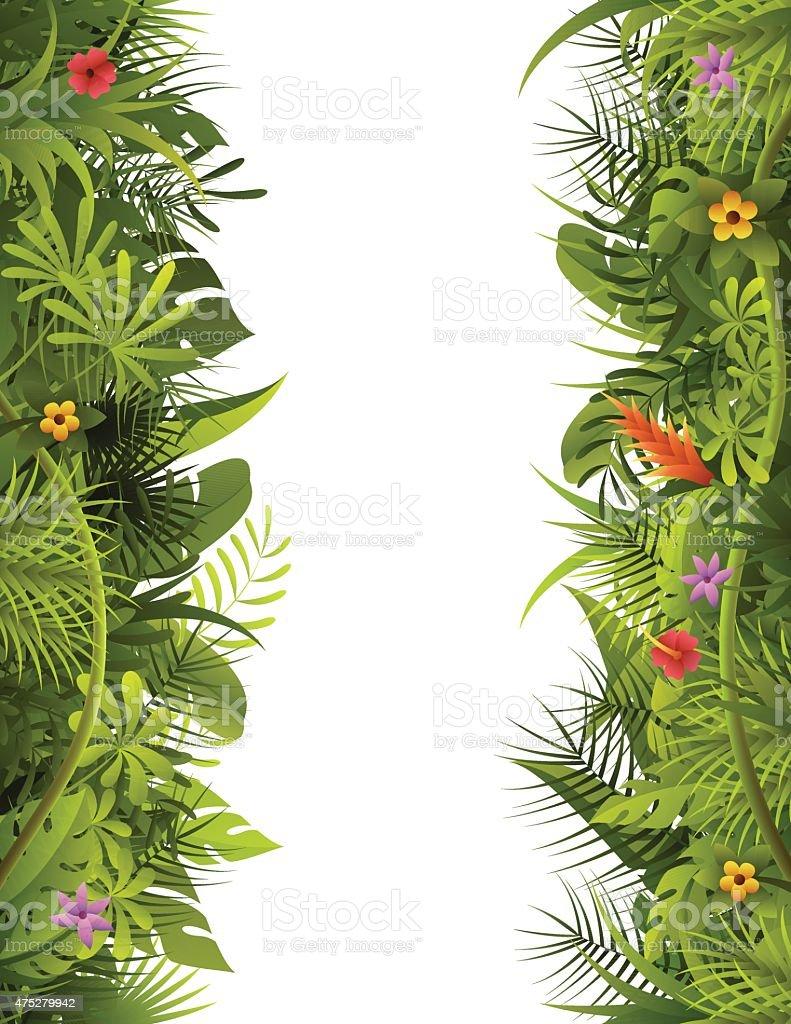 Tropical Forest Vertical Frame vector art illustration