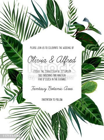Tropical frame arranged from exotic emerald leaves. Geometric vector. Paradise plants, greenery and palm card. Stylish fashion banner. Wedding design. All leaves are not cut. Isolated and editable