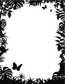 A vector illustration of a tropical frame border in black and white with copy space.