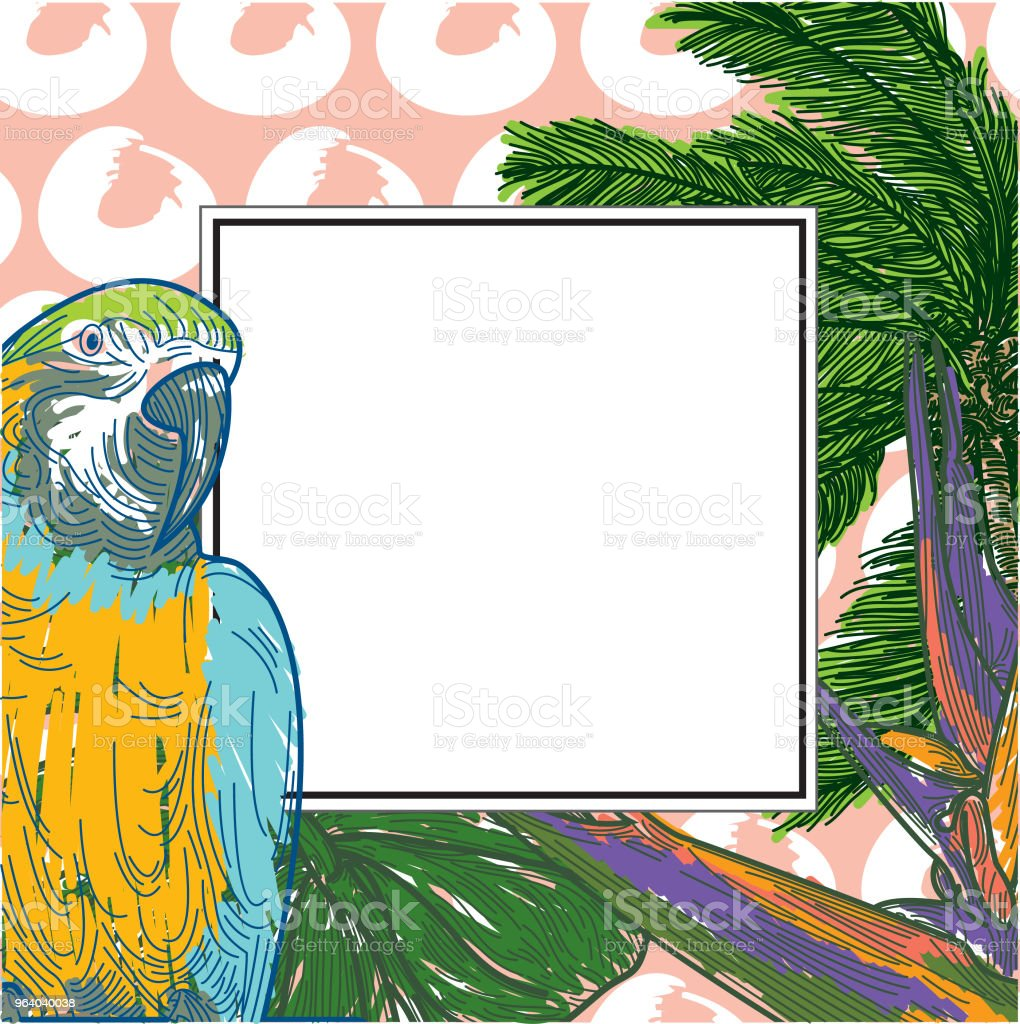 Tropical Frame with copyspace vector art illustration