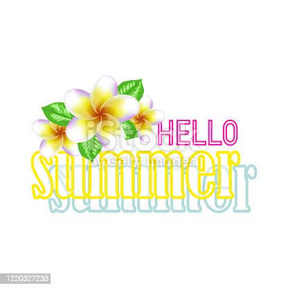 Tropical frangipani flowers and clear blue water, summer concept background. Beautiful flyer with inscription Hello Summer. Summer decoration with realistic tropical elements. Concept of seasonal vacation in tropical country.