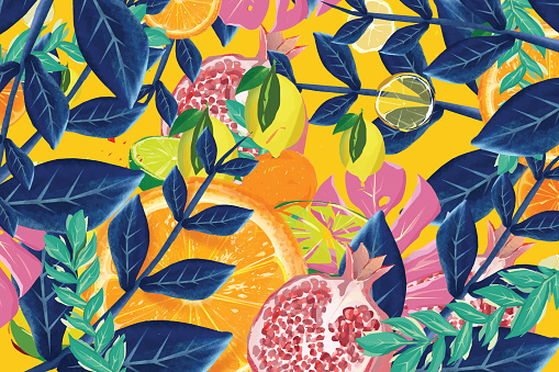 Tropical fruit and leaves background
