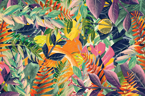 Exotic fruits and leaves on a blue background. Oranges, lemons and limes in vibrant colors
