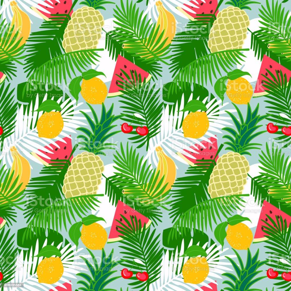les feuilles de fruits tropicaux sans couture modèle avec jungle