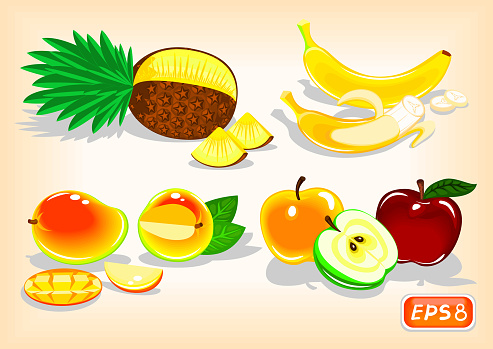 Tropical fruits and apples with a juicy taste