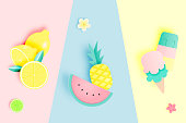 Tropical fruits and ice cream in paper art style and pastel color scheme background vector illustration