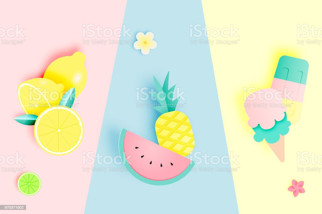 Tropical fruits and ice cream in paper art style and pastel color scheme vector art illustration