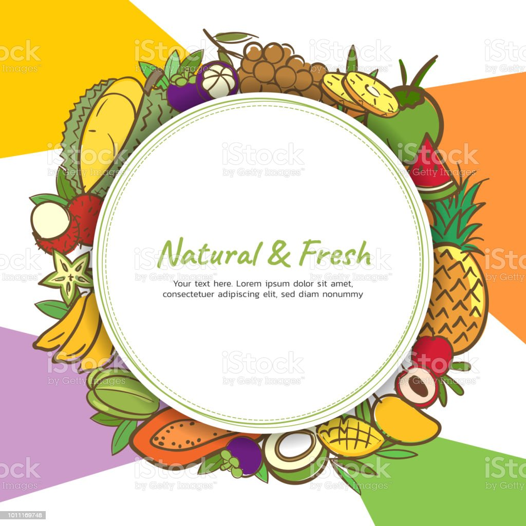tropical fruits cute banner background template with copy space for