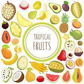 Tropical fruits card with exotic meal vector. Marang and pineapple, citron and sugar apple, carambola and mamey. Banana and chompoo, salak and papaya