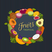 Tropical fruits frame. Healthy food. Organic food. Flat style, vector illustration.