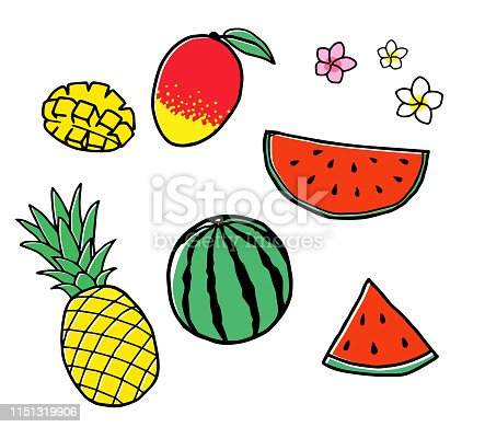 tropical fruits illustration Hand drawn