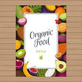 Tropical fruits menu background. Healthy food. Organic food. Flat style, vector illustration.