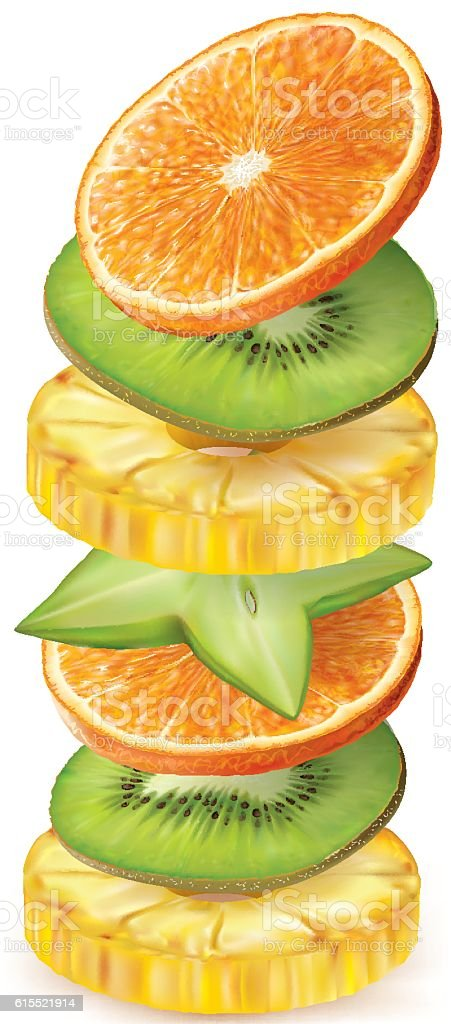 Tropical fruits slices vector art illustration