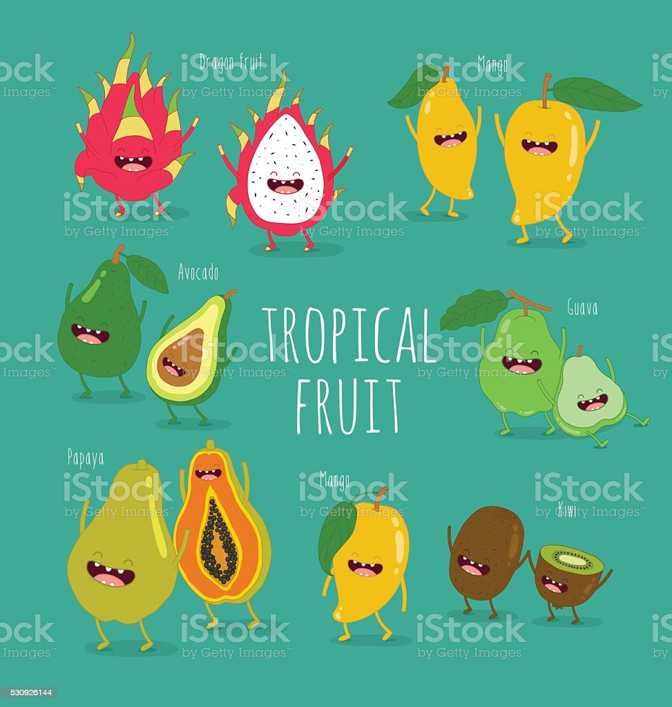 tropical fruits vector art illustration
