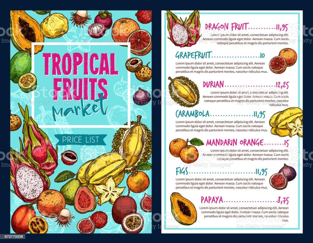 Tropische Früchte Vektor Vorlage Stock Vektor Art und mehr Bilder ...