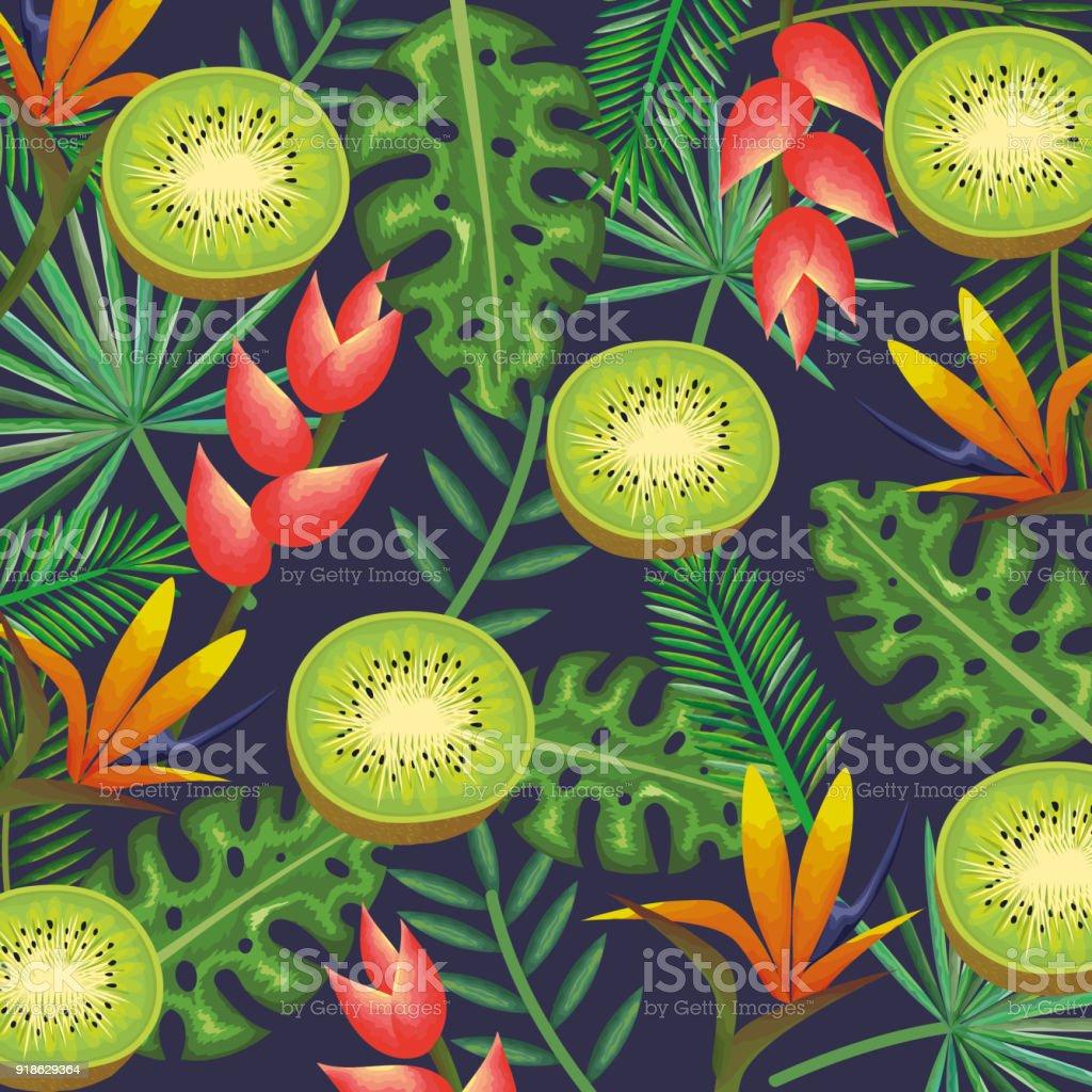 jardin tropical avec kiwi – cliparts vectoriels et plus d'images de