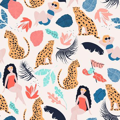 Tropical girl seamless pattern