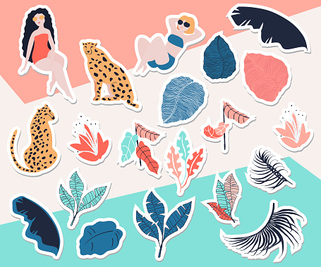 Tropical girl sticker collection
