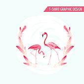 Tropical Graphic Design. Flamingo Birds. Tropical Background. T-shirt Design