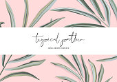 Tropical hand-drawn soft palm leaves background. Vector floral illustration. Summer nature print. Exotic plant with typography.