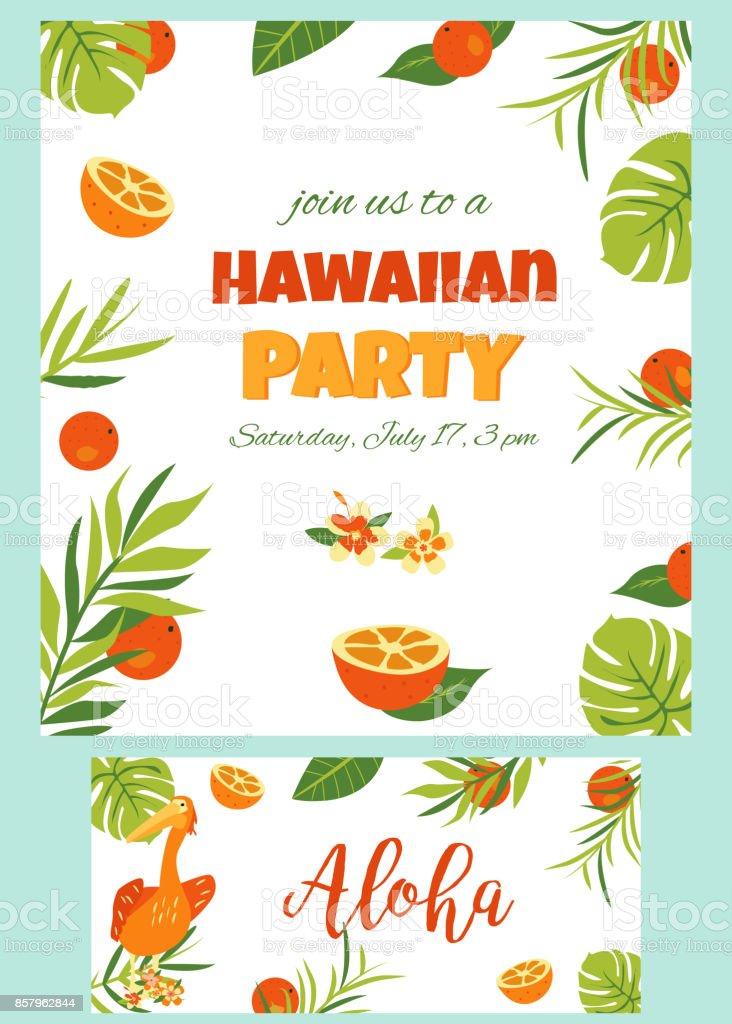 Tropischen Hawaii Poster Mit Pelikan Partyvorlage Einladung Banner ...