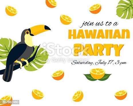 オオハシのトロピカル ハワイアン ポスターパーティ テンプレート招待状
