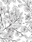 Tropical Hibiscus Seamless Pattern Background